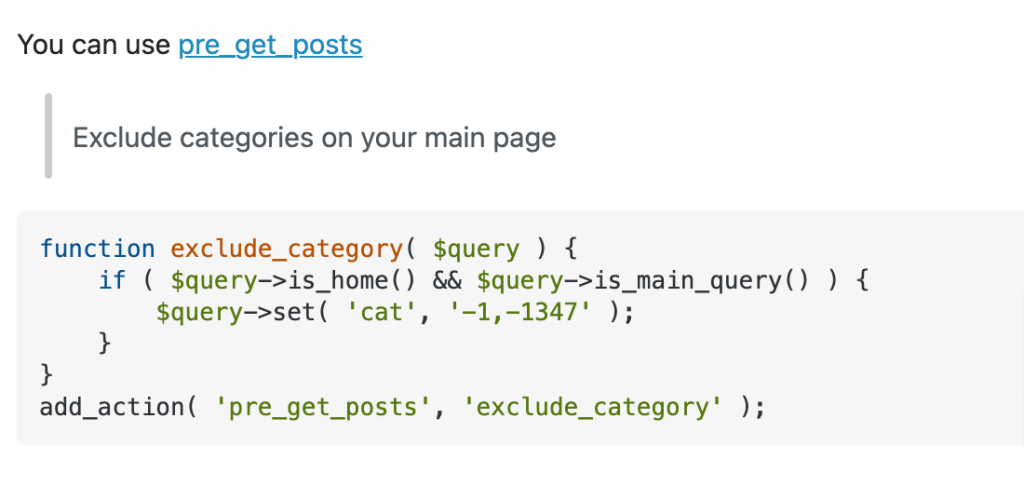 categories How to not display a category post on blog page WordPress Development Stack Exchange